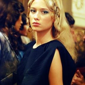 model at fashion week backstage
